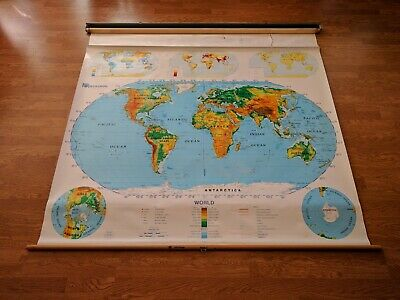 USED Nystrom World 1SR99 Home School Classroom Markable PULL-DOWN MAP