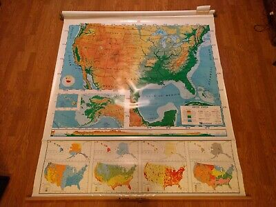 Nystrom - 1SR1 USA Home School classroom markable PULL-DOWN MAP 68in Wide