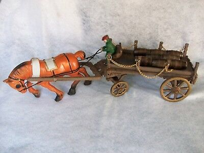 """Antique Cast Iron Toy Horse Drawn Wagon with Barrels 23"""" Large"""