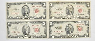 Lot (4) Red Seal $2.00 US 1953 or 1963 Notes - Currency Collection *474