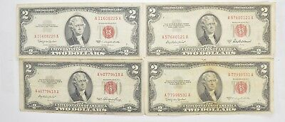 Lot (4) Red Seal $2.00 US 1953 or 1963 Notes - Currency Collection *478