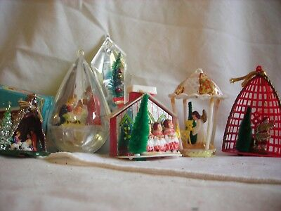 Vintage Antique Christmas Ornaments Jewelbrite hong kong japan manger plastic