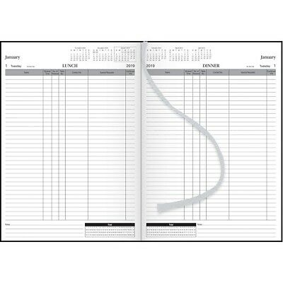 2019 Milford  Table Booking Diary 2 Pages to a Day  A4 HardCover Black 441470