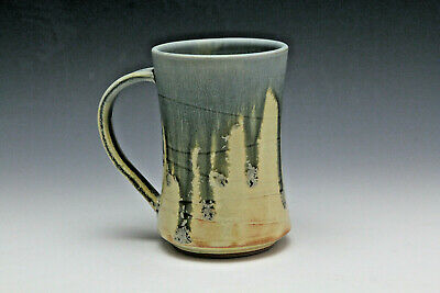 Pottery Hand Made Wheel Thrown. Coffee Mug Yellow & Blue Drip Glaze - Rollins