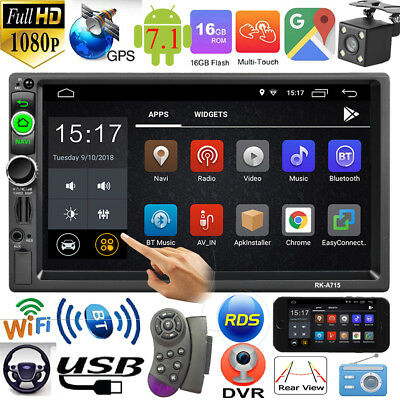 2Din 7in Quad Core Android 7.1 GPS Navi RDS FM Radio Car Stereo MP5 Player + Cam