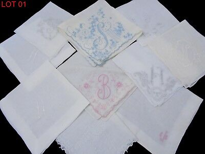 10 Antique Handkerchief handmade Linen/cotton Bridal Handkerchief Vintage #01