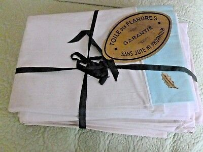 BEAUTIFUL VINTAGE FRENCH Toile Bed Linen - Two Flat Sheets One ~ Contrast Edge