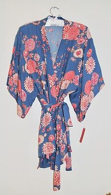 c680cb9aba525 NWT Josie by Natori Women s Blue Asian Floral Josie Gypsy Short Wrap Robe  XS M L