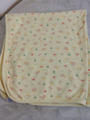 """Carters Child Of Mine Baby Receiving Blanket Farm Animals Yellow 28"""" X 30"""""""