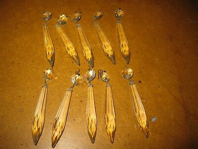 Lot of 10 Vintage Crystal Glass Faceted Drop Spear Chandelier Prisms Approx 4""