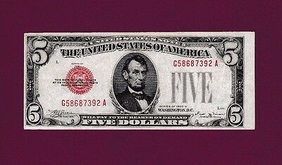 Fr.1529  $5 1928 D  LEGAL TENDER UNITED STATES NOTE SN  G 58687392 A  - KEY DATE