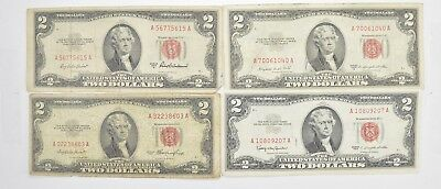 Lot (4) Red Seal $2.00 US 1953 or 1963 Notes - Currency Collection *479