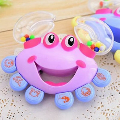 Kids Toy Baby Cute Crab Design Handbell Musical Instrument Jingle Shaking Rattle