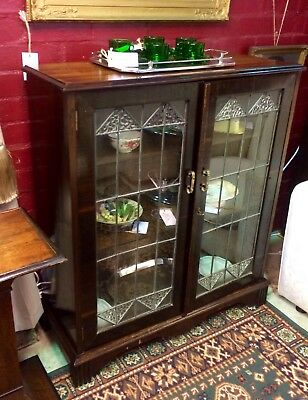 1920's Art Deco Lead Light Cabinet