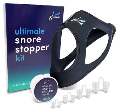 Snoring Solution - 2 in 1 Bundle - Anti Snoring Chin Strap + Set of 4 Snore Stop