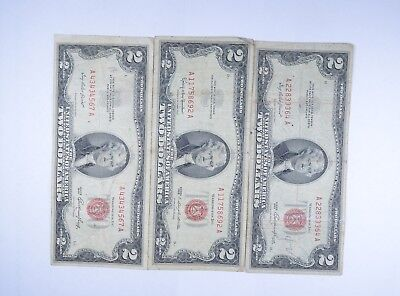 Lot (3) Red Seal $2.00 US 1953 or 1963 Notes - Currency Collection *100