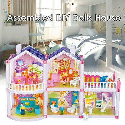 Plastic Doll House Girls Pretend Play Furniture 2 Level Large Toy Pink Dollhouse