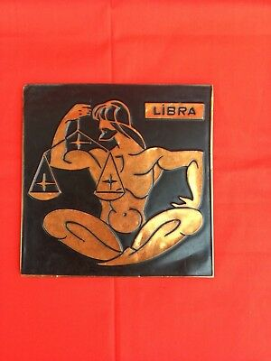 Vintage Chasing Embossed Copper Relief Wall Plaque Picture  Zodiac  sign LIBRA