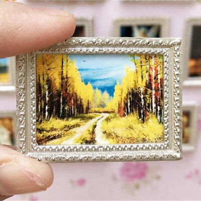 Vintage Miniature Dollhous Framed Wall Painting 1:12 Doll Home Decor Accessory、