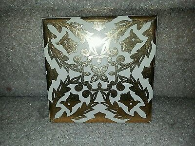 DAL Mexican Tile Gold Floral 4 inch Floor Ceramic
