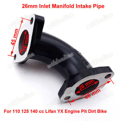 26mm Inlet Manifold Intake Pipe For 110 125 140 cc YX Lifan Engine Pit Dirt Bike