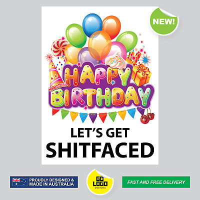 Funny Wine bottle Stickers Labels Happy Birthday LET'S GET SHITFACED Gift Idea
