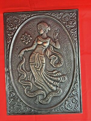 Vintage BIG Chasing Embossed Copper Relief Wall Plaque Picture WOMAN INDIA DANCE