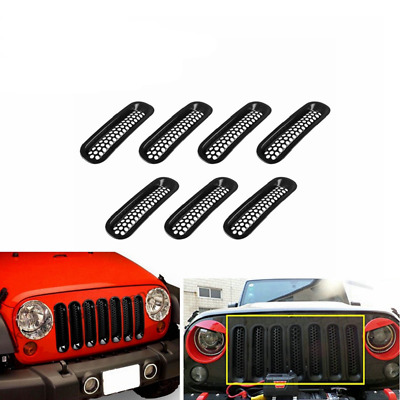 7PCS Auto Clip-in Front Insert Mesh Cover Grille Trim for 07-18 Jeep Wrangler JK