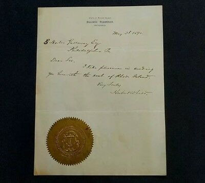 1890 Rhode Island Executive Dept Autographed Letter & Seal of Rhode Island
