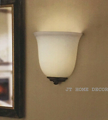 Battery Operated LED 3-Way Touch Dimmable Wall Sconce Light Frosted Glass Bronze