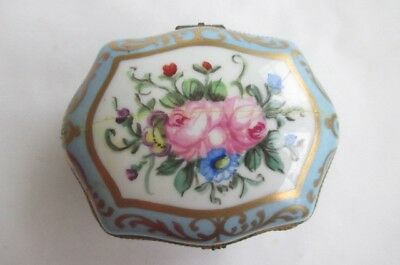 Limoges Hand Painted Blossom Floral Flower Hinged Trinket Box Blue Pink Repaired