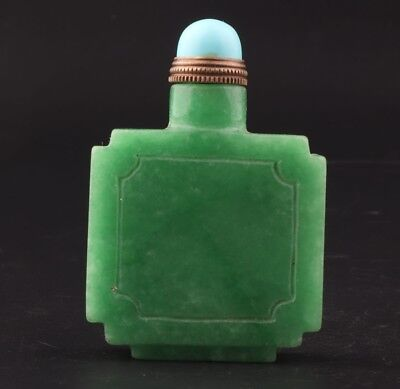 China Natural Emerald Unique Handmade Snuff Bottle Sealed Portable Collection