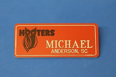 ORANGE HOOTERS GIRL NAME TAG PIN (name in white) MICHAEL Anderson, SC