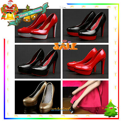1/6 Scale Female High-Heeled Shoes Uniform Set PVC 4 Colors Fit 12'' PHICEN Body