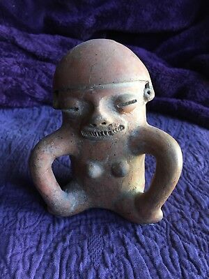 "4.5"" Pre-Columbian Terracotta Ceramic Clay Female Figure, Rare & Original!"
