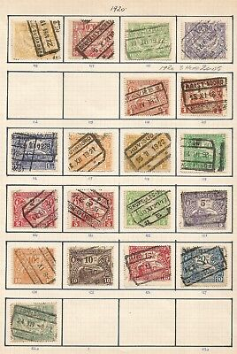Scarce 1920 BELGIUM RAILWAY STAMPS on old pages 2 scans  ,ref17/ 70