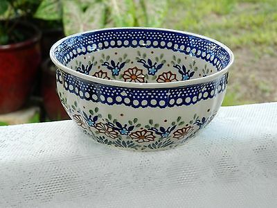 Polish Pottery Small Mixing Bowl Brown Floral Pattern Scalloped Exterior - NEW