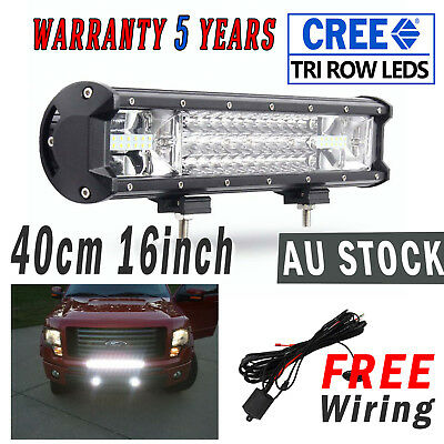 "NEW 15"" Cree LED Work Light Bar Spot Flood  512W Offroad Driving 16"" Free Wiring"