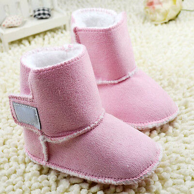Infant Baby boy Pink Faux Fur Lined Snow Boots Crib Shoes Size 0-18 Months/M