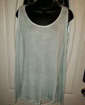 30938d79a5ee4 GIBSON   LATIMER Womens Top Large Aqua White Cold-Shoulder Long NWT ...
