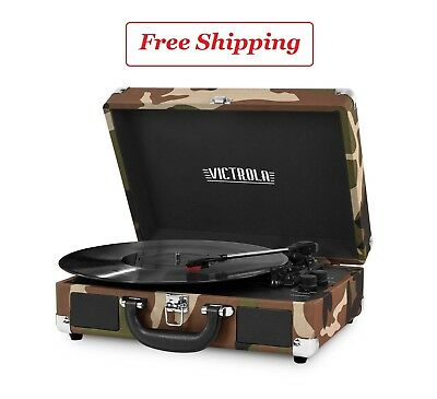 Portable Victrola Suitcase Record Player with Bluetooth and 3 Speed Turntable As
