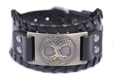 Irish Celtic Tree of Life Yggdrasil Wide Leather Bracelet Leather Cuff Wristband