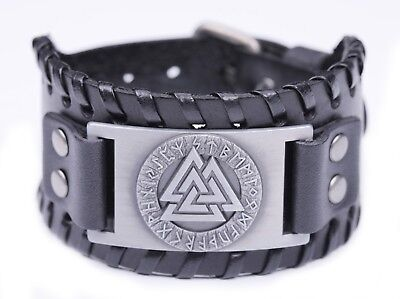 24 Runes Odin Symbol Valknut Black Wide Leather Bracelet for Warrior Fighter