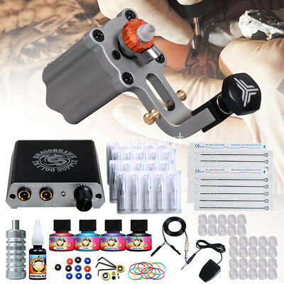 New Tattoo kit Airfoil Rotary Machine Gun Power Supply Needles Tip Grip D3050