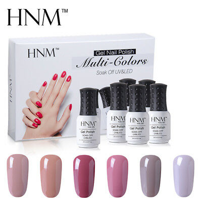 HNM 6pcs Nail Gel Polish Set Nude Platinum Neon Nail Art Salon Manicure Varnish