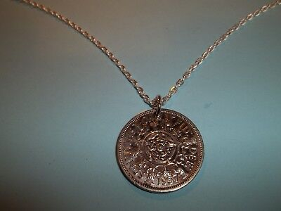 2 SHILLING - FLORIN COIN PENDANT NECKLACE - 1962 - 56th BIRTHDAY