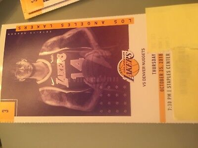 1 Lakers Denver Nuggets Ticket Stub 10/25/18 LeBron James' First Triple Double