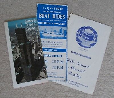 VINTAGE TOURIST BROCHURES CHICAGO 1970s - Sears Tower, Elks, Boat Rides