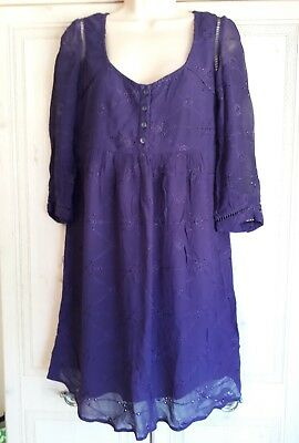 Ladies Lined Purple Embroidered Tunic/Dress from NEXT in a size 10