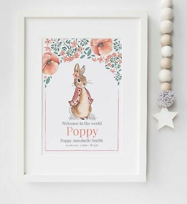 Peter Rabbit Beatrix Potter Personalised Name Picture Nursery Print UNFRAMED
